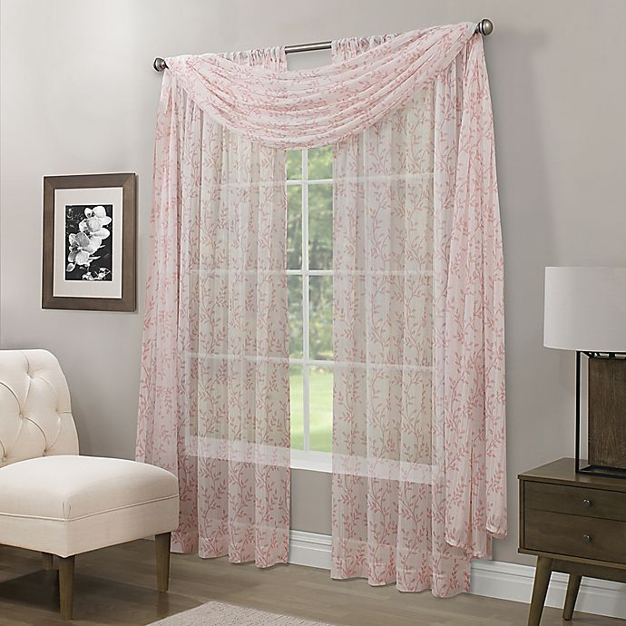 Alternate image 1 for Somerset Printed Crushed Sheer Window Scarf Valance in Coral