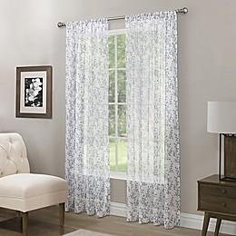 Somerset Printed Crushed Sheer Rod Pocket Window Curtain Panel