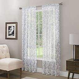 Somerset Printed Crushed Sheer 84-Inch Rod Pocket Window Curtain Panel in Indigo