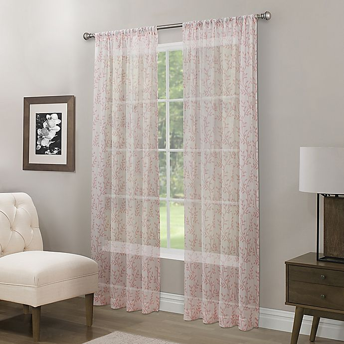 Alternate image 1 for Somerset Printed Crushed Sheer 95-Inch Rod Pocket Window Curtain Panel in Coral