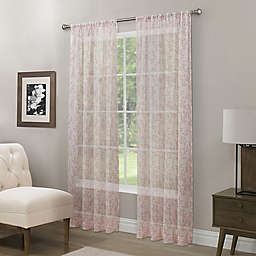 Somerset Printed Crushed Sheer Rod Pocket Window Curtain Panel and Scarf Valance
