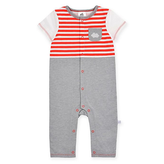 Alternate image 1 for Just Born® Up in the Clouds Coverall in Red/Grey