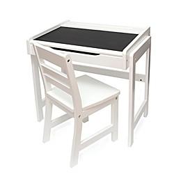Lipper International Chalkboard-Top Desk & Chair Set in White