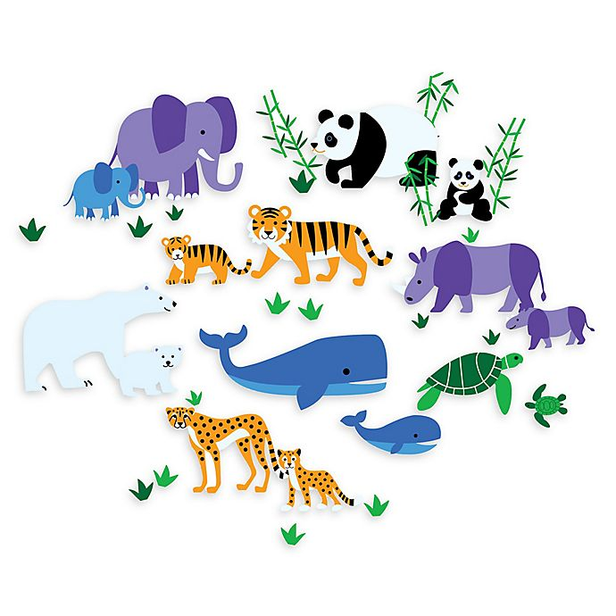 Alternate image 1 for Wallies Olive Kids Animals Peel & Stick Wall Decals