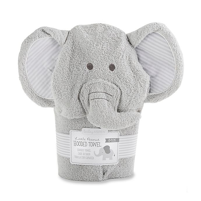 Alternate image 1 for Baby Aspen Size 0-9M Little Peanut Elephant Hooded Spa Towel