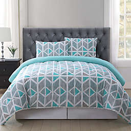 Truly Soft Malene Comforter Mini Set in Grey/Aqua