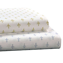 Brielle Fashion Fleur de Lis Cotton Jersey Sheet Set