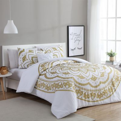 Vcny Karma Duvet Cover Set In Gold White Bed Bath And