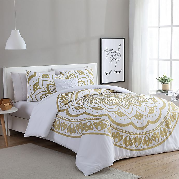 Alternate image 1 for VCNY Home Karma 3-Piece Twin/Twin XL Duvet Cover Set in Gold/White