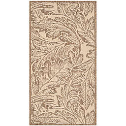 Safavieh Courtyard Autumn Leaves 2' x 3'7 Indoor/Outdoor Accent Rug in Natural/Brown