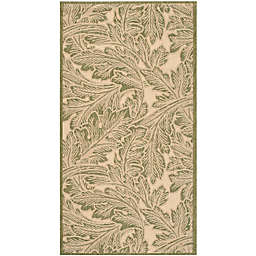 Safavieh Courtyard Autumn Leaves 2'7 x 5' Indoor/Outdoor Area Rug in Natural/Olive
