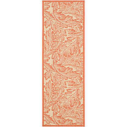 Safavieh Courtyard Autumn Leaves 2'3 x 6'7 Indoor/Outdoor Runner in Natural/Terra