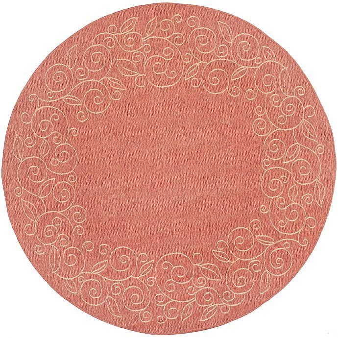 Alternate image 1 for Safavieh Vine Scroll 6-Foot 7-Inch Round Indoor/Outdoor Area Rug in Terracotta