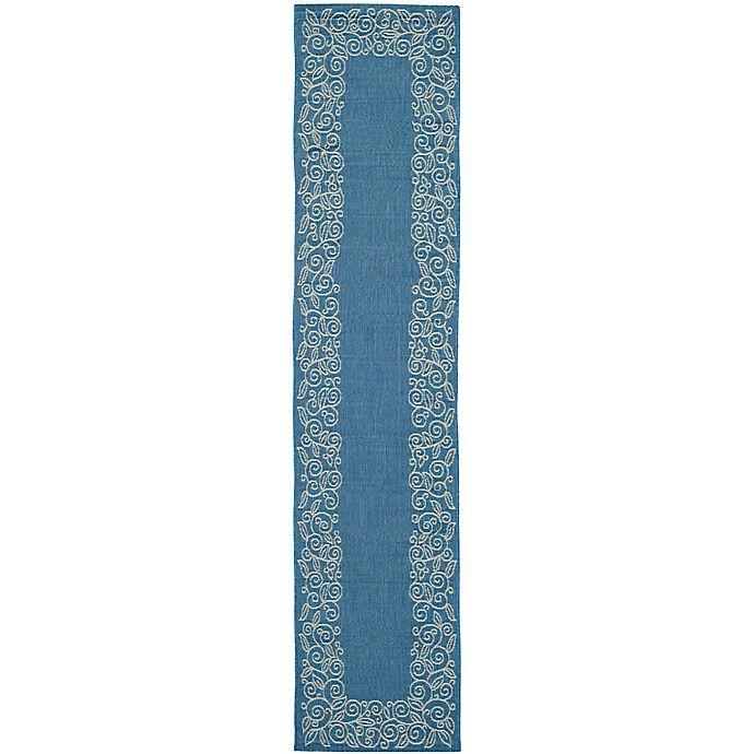 Alternate image 1 for Safavieh Vine Scroll 2-Foot 6-Inch x 12-Foot Indoor/Outdoor Runner in Blue