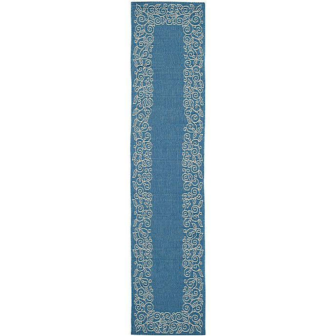 Alternate image 1 for Safavieh Vine Scroll 2-Foot 6-Inch x 14-Foot Indoor/Outdoor Runner in Blue