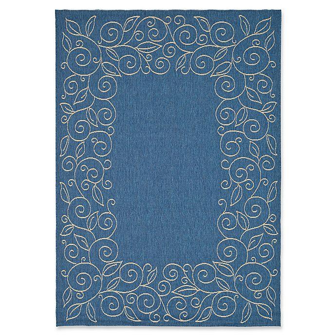 Alternate image 1 for Safavieh Vine Scroll 5-Foot 3-Inch x 7-Foot 7-Inch Indoor/Outdoor Area Rug in Blue