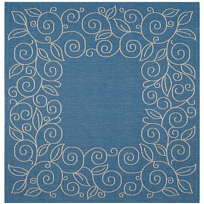 Alternate image 1 for Safavieh Vine Scroll 7-Foot 10-Inch Square Indoor/Outdoor Area Rug in Blue