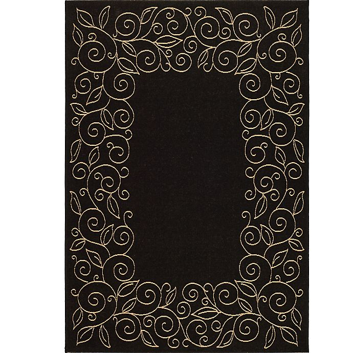 Alternate image 1 for Safavieh Vine Scroll 6-Foot 7-Inch x 9-Foot 6-Inch Indoor/Outdoor Area Rug in Black