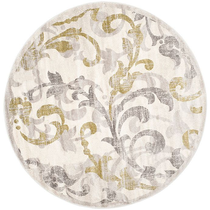 Alternate image 1 for Safavieh Amherst Vinery 7-Foot Round Indoor/Outdoor Area Rug in Ivory/Light Grey