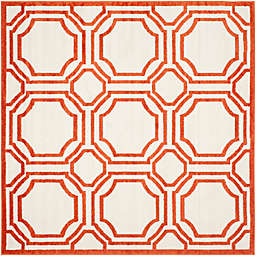 Safavieh Amherst Abigail 7-Foot Square Indoor/Outdoor Area Rug in Ivory/Orange