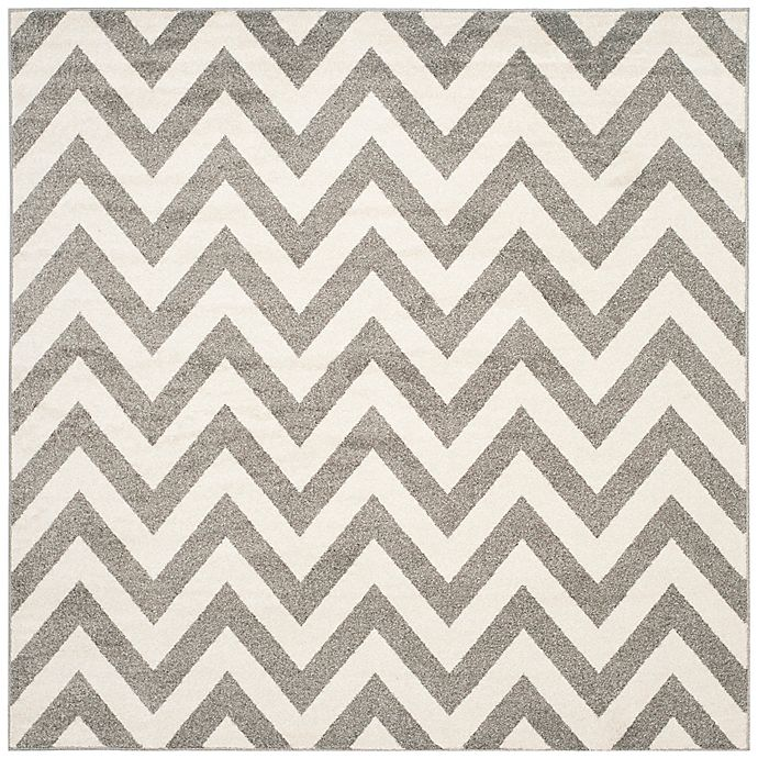 Alternate image 1 for Safavieh Amherst Chevy 5-Foot Square Indoor/Outdoor Area Rug in Dark Grey/Beige