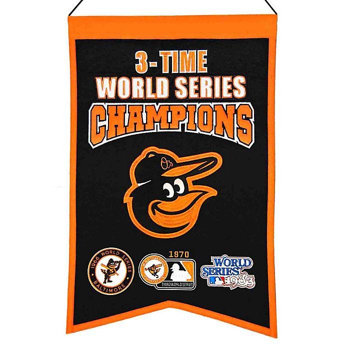 Alternate image 1 for MLB Baltimore Orioles 3X World Series Championship Banner