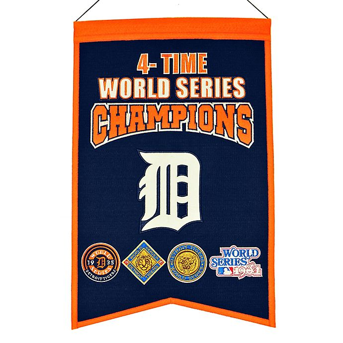 Alternate image 1 for MLB Detroit Tigers 4X World Series Championship Banner