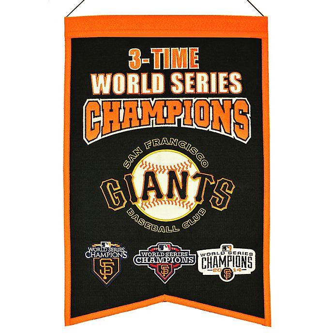 Alternate image 1 for MLB San Francisco Giants 3X World Series Championship Banner