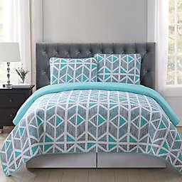 Truly Soft Malene Quilt Mini Set in Grey/Aqua