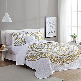 VCNY Home Karma 3-Piece Twin/Twin XL Quilt Set in Gold/White
