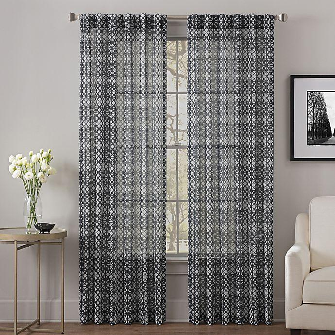 Alternate image 1 for Alder 95-Inch Rod Pocket/Back Tab Sheer Window Curtain Panel in Black/White