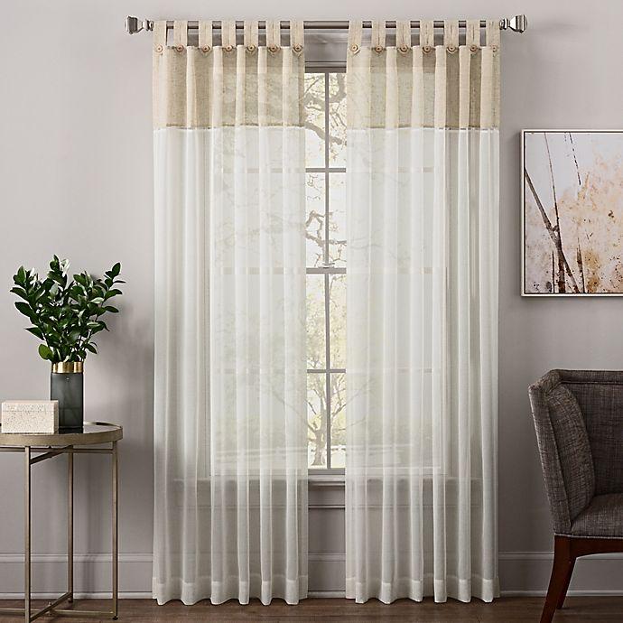 Alternate image 1 for Zelda 84-Inch Tab Top Sheer Window Curtain Panel in Linen