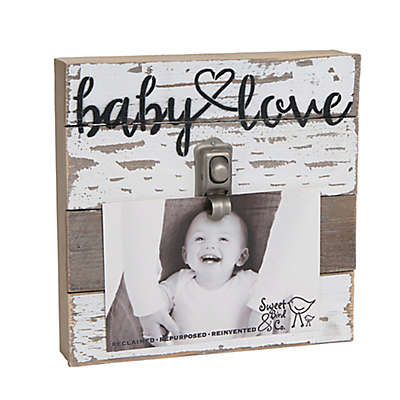 "Sweet Bird & Co. ""Baby Love"" 4-Inch x 6-Inch Wooden Clip Frame"