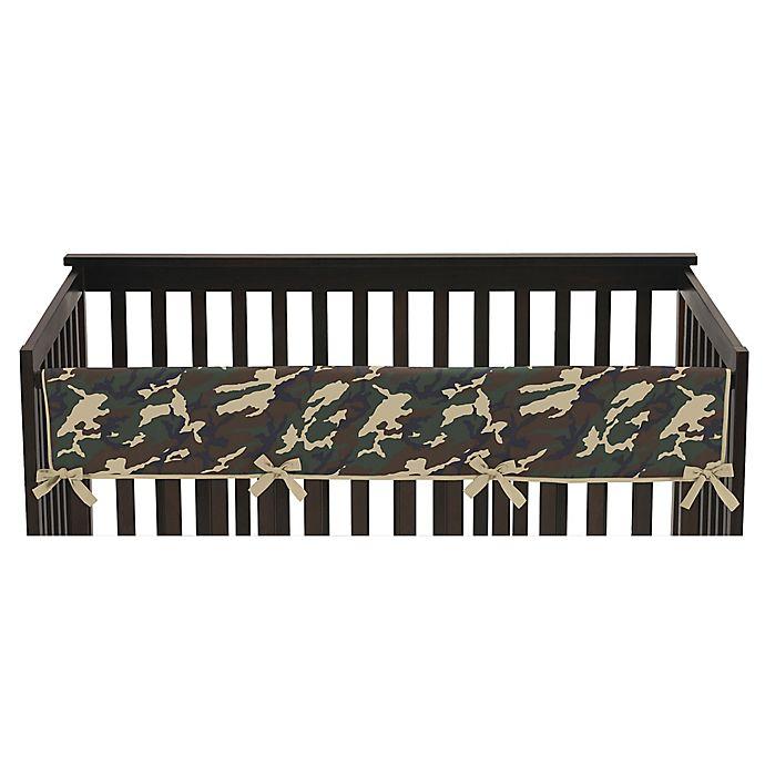 Alternate image 1 for Sweet Jojo Designs Camo Long Crib Rail Cover in Green