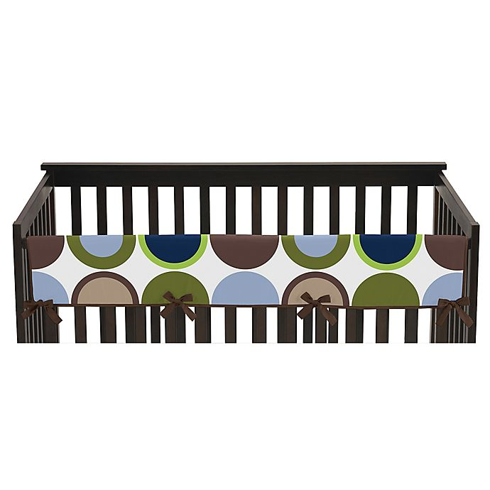 Alternate image 1 for Sweet Jojo Designs Designer Dot Long Crib Rail Cover in Navy/Taupe