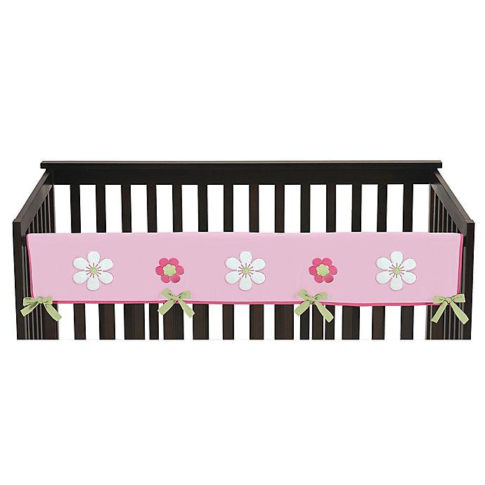 Alternate image 1 for Sweet Jojo Designs Flower Long Crib Rail Cover in Pink and Green