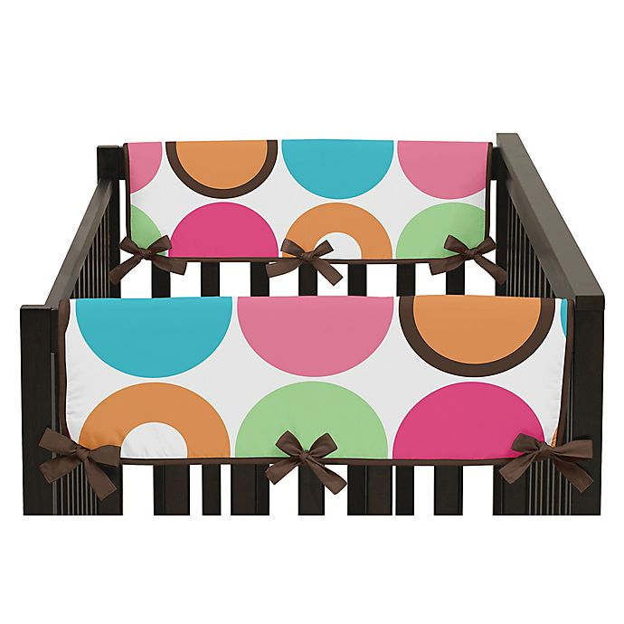 Alternate image 1 for Sweet Jojo Designs Deco Dot Side Crib Rail Covers in Hot Pink/White (Set of 2)