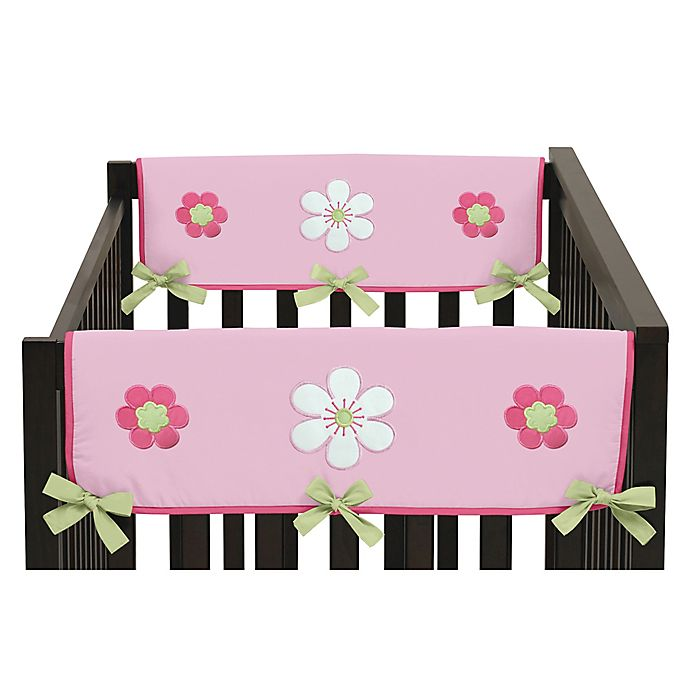 Alternate image 1 for Sweet Jojo Designs Flower Side Crib Rail Covers in Pink and Green (Set of 2)
