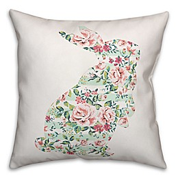 Designs Direct Floral Curious Rabbit Square Throw Pillow in Mint/Pink