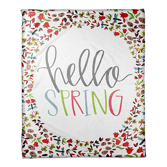 Alternate image 1 for Designs Direct Hello Spring Throw Blanket in Pink/Green