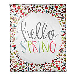 Designs Direct Hello Spring Throw Blanket in Pink/Green