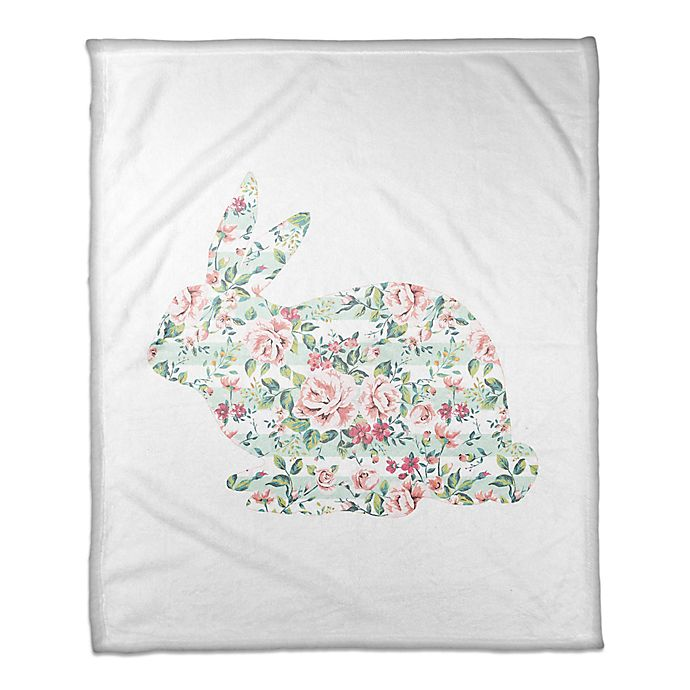 Alternate image 1 for Designs Direct Floral Tranquil Rabbit Throw Blanket in Mint/Pink