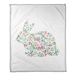 Designs Direct Floral Tranquil Rabbit Throw Blanket in Mint/Pink
