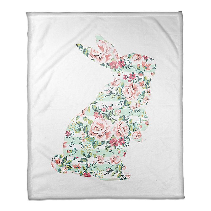 Alternate image 1 for Designs Direct Floral Curious Rabbit Throw Blanket in Mint/Pink