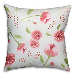 Designs Direct Dark Watercolor Buds Square Throw Pillow in Pink/Green