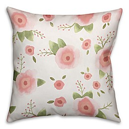 Designs Direct Watercolor Florals Square Throw Pillow in Pink/Green