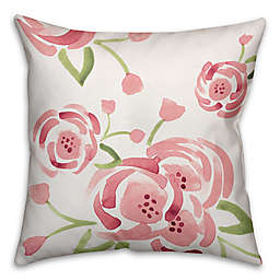 Designs Direct Watercolor Roses Square Throw Pillow in Pink/Green