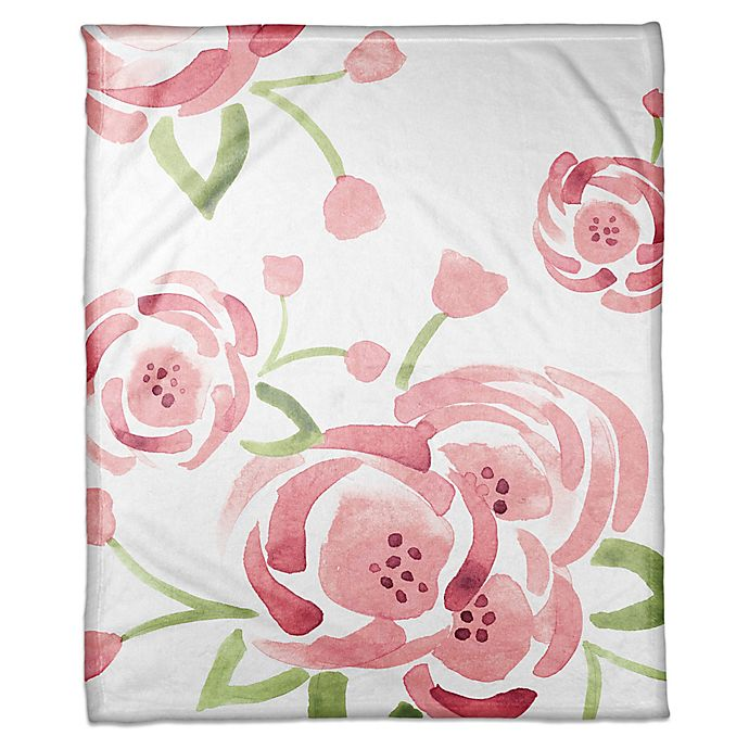 Alternate image 1 for Designs Direct Watercolor Roses Throw Blanket in Pink/Green