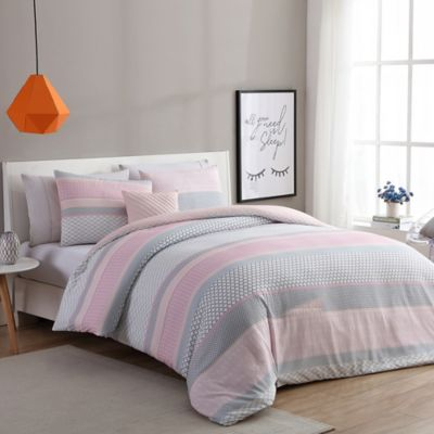 Vcny Home Stockholm Duvet Cover Set In Pink Grey Bed