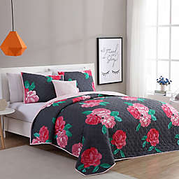 VCNY Home Rosemary 3-Piece Twin/Twin XL Quilt Set in Charcoal/Rose